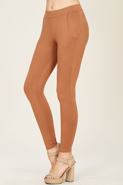 SOLID POLY SPAN LEGGINGS WITH POCKET - orangeshine.com