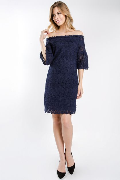 solid crochet off shoulder dress - orangeshine.com