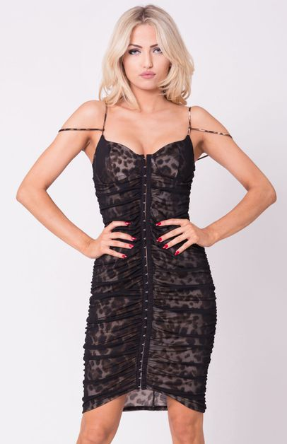 ANIMAL PRINT MESH SLEEVELESS DRESS - orangeshine.com