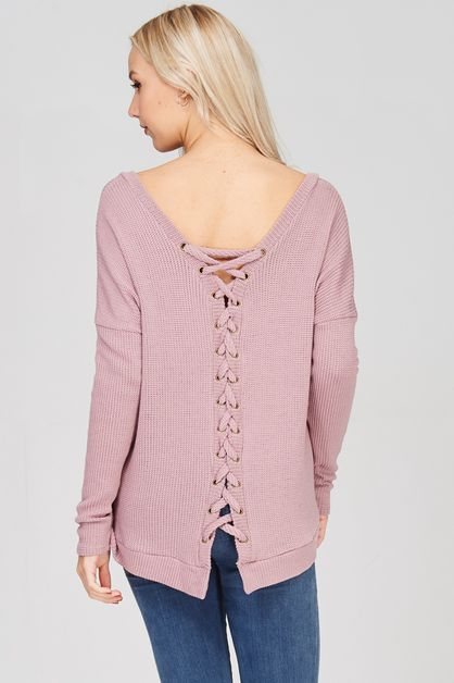 LACE UP BACK SWEATER KNIT TOP - orangeshine.com