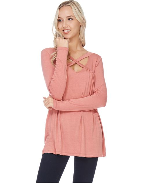 Long Sleeve Criss Cross Neckline - orangeshine.com