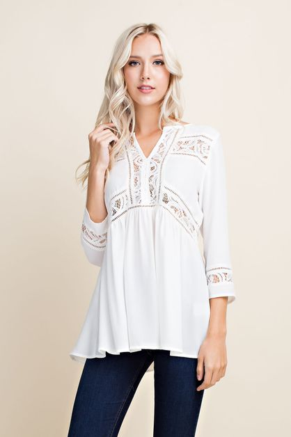 Crochet Lace Embellished Blouse - orangeshine.com