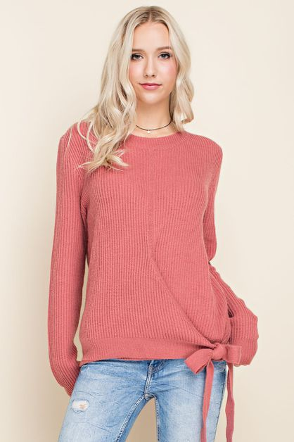 Side Tie Pullover Sweater - orangeshine.com