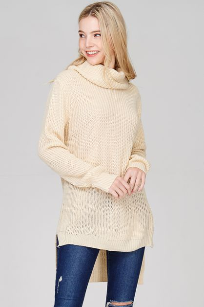 High-Low Ribbed Knit Turtle Neck  - orangeshine.com