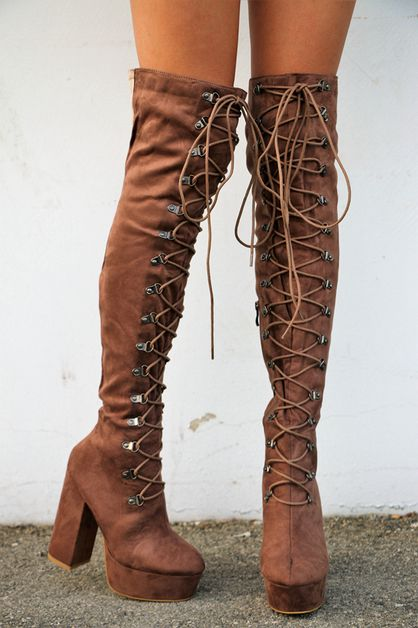 lace up chunky high heels boots - orangeshine.com