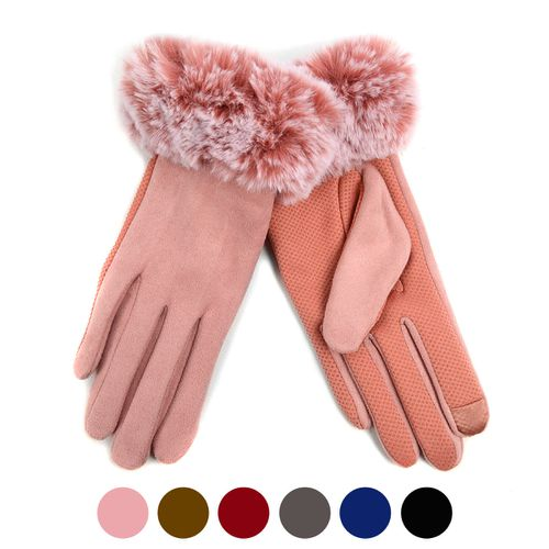 Womens Faux-Fur Touch Screen Gloves - orangeshine.com