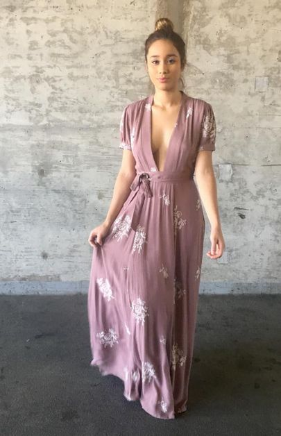 Floral Printed Maxi Dress wPlunging - orangeshine.com