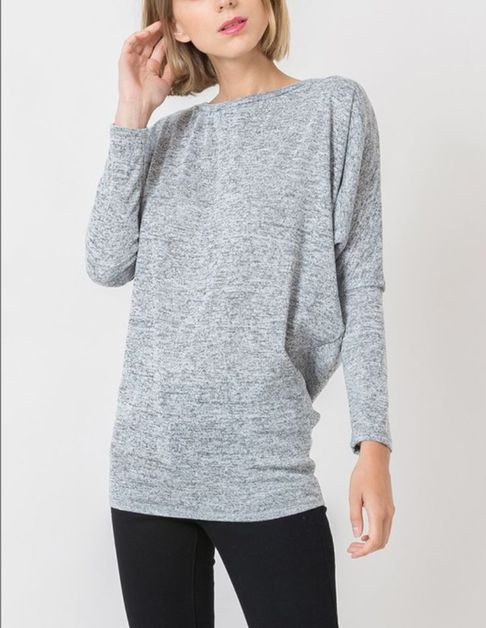 LONG DOLMAN SLEEVE FITTIED WAIST TOP - orangeshine.com