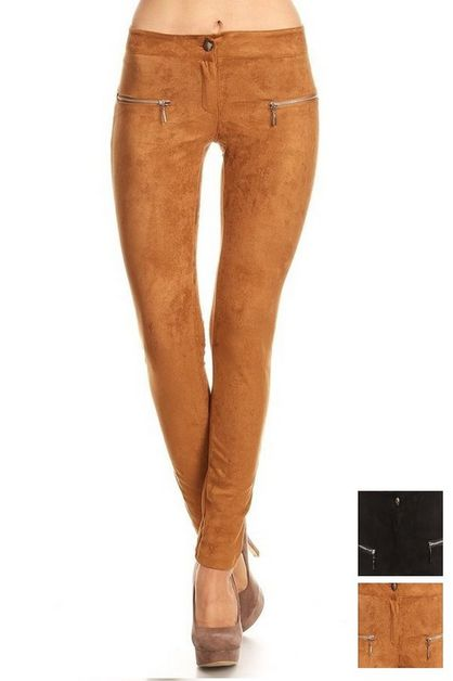 Faux Suede Pants - orangeshine.com