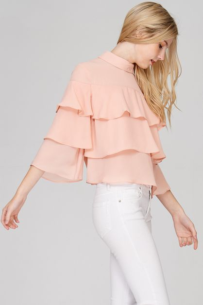 Layered High Neck Chiffon Top - orangeshine.com