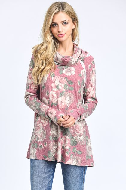 Floral long sleeve turtleneck  - orangeshine.com