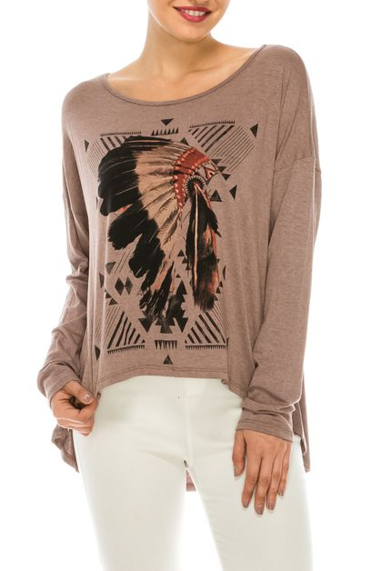Feathers Tribe Graphic Top - orangeshine.com