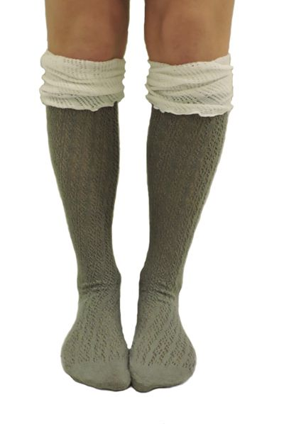 Two Tone Ruffle Boot Socks - orangeshine.com
