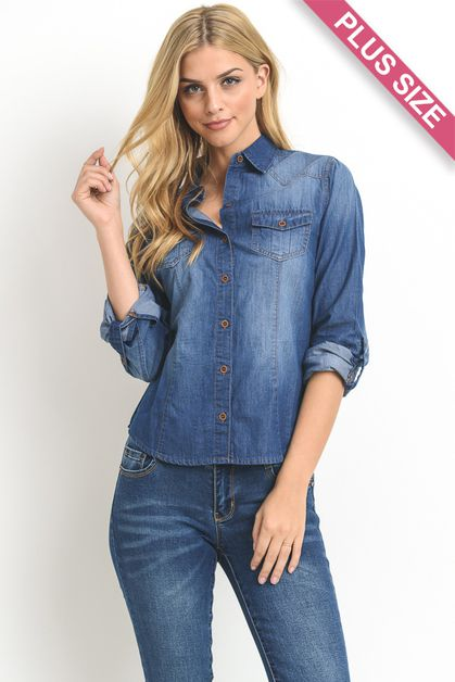 Plus Size Denim Shirt - orangeshine.com