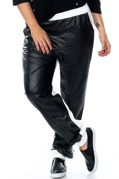 COLOR BLOCK FAUX LEATHER PANTS  - orangeshine.com