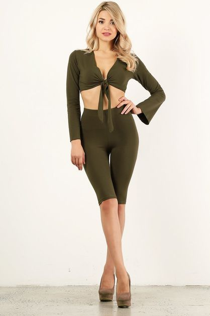Olive Biker Short Set - orangeshine.com