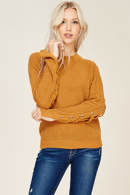 Crew Neck Lace Up Sweater Pullover - orangeshine.com
