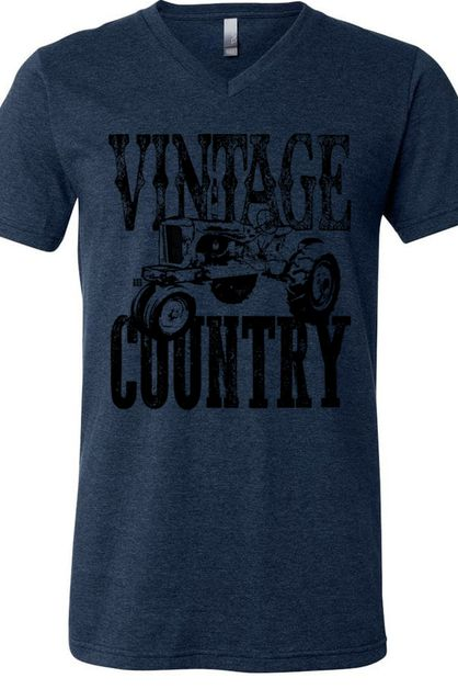 Vintage Country Tractor V Neck - orangeshine.com