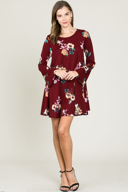FLORAL LONG SLEEVE SWING DRESS - orangeshine.com