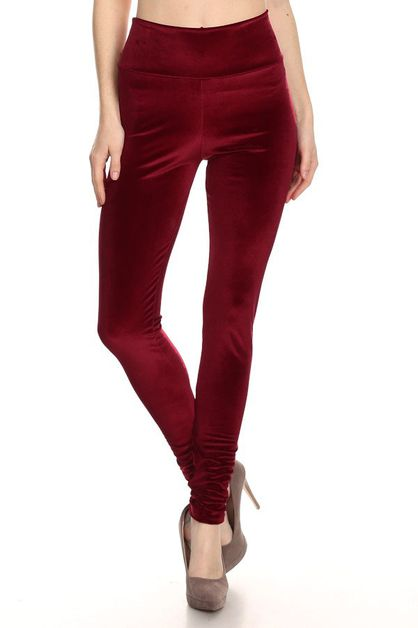 High Waisted Velvet Leggings - orangeshine.com