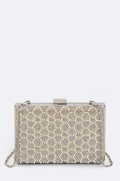Pearl Crystal Pattern Box Clutch - orangeshine.com