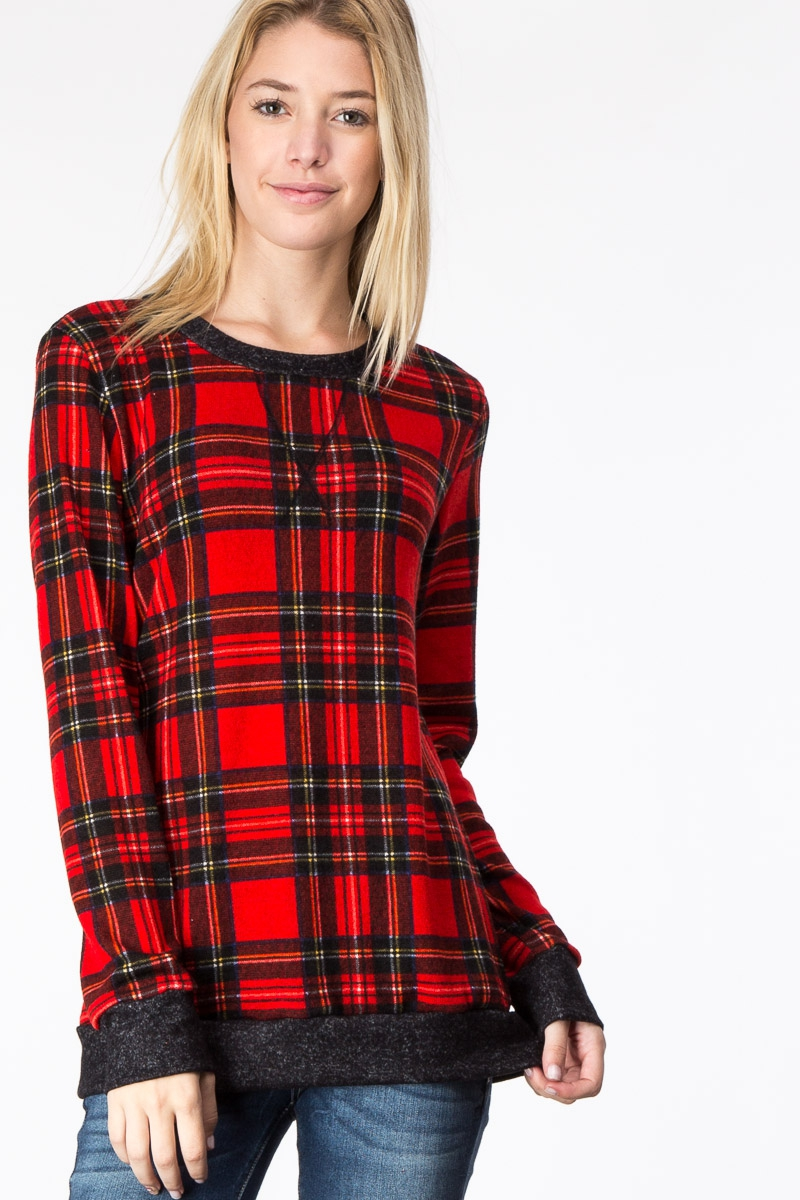 PLAID ROUND NECK LONG SLEEVE TOP - orangeshine.com