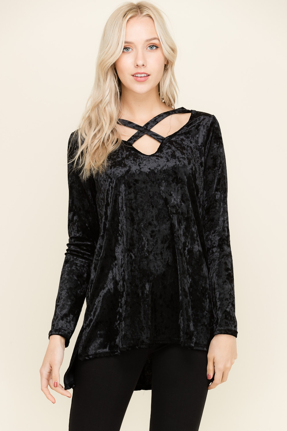 ICE VELVET V NECK TOP - orangeshine.com