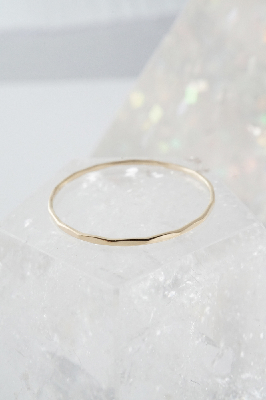 Solid 14k Gold Hammered Ring - orangeshine.com