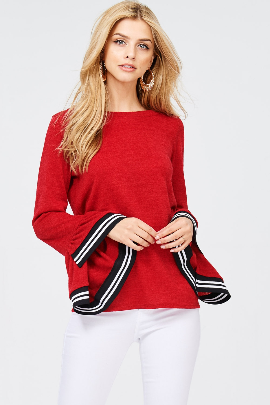 Bell Sleeve Contrast Band Top - orangeshine.com