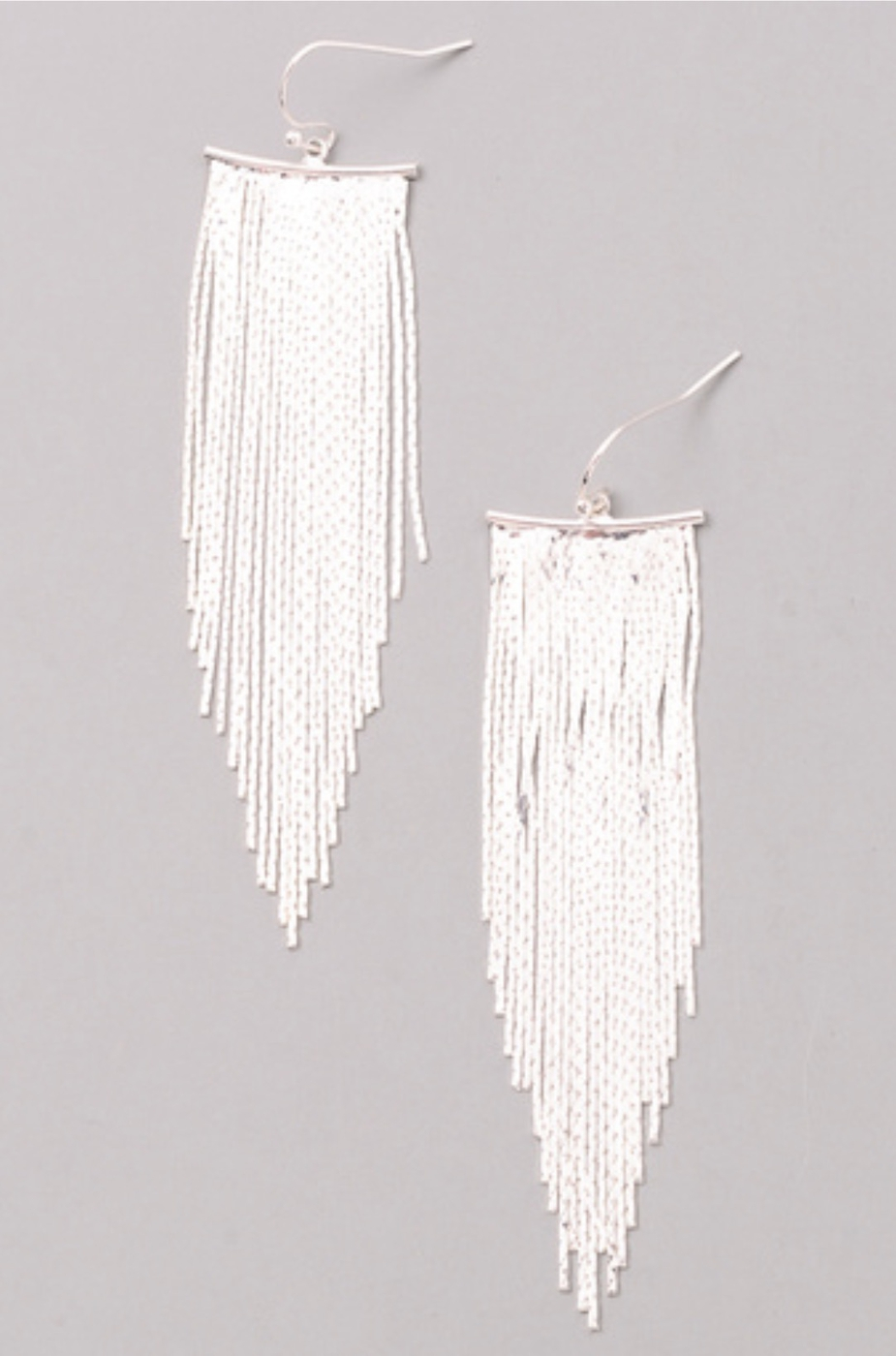 SHINY CHAIN FRINGE DANGLE EARRINGS - orangeshine.com