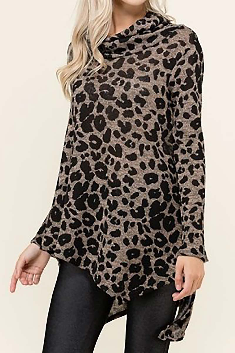 COWL NECK LEOPARD PRINT TOP  - orangeshine.com