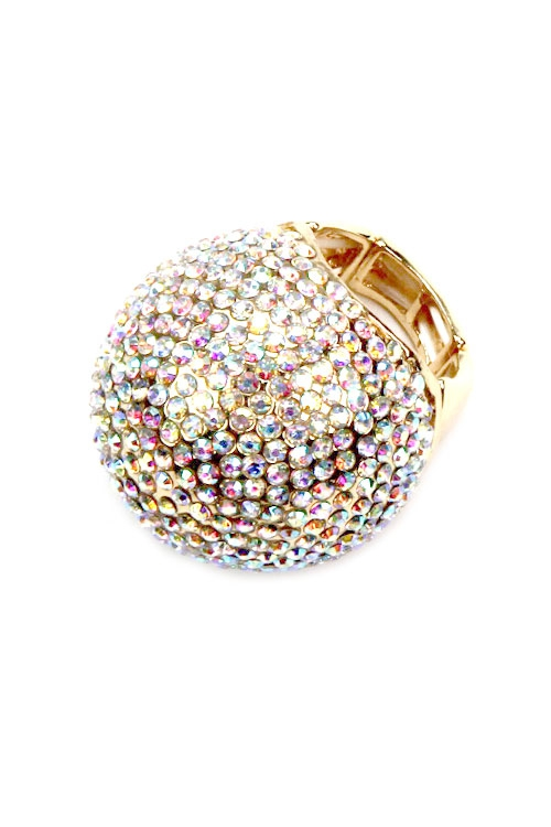 Crystal Sphere Stretchable Ring  - orangeshine.com