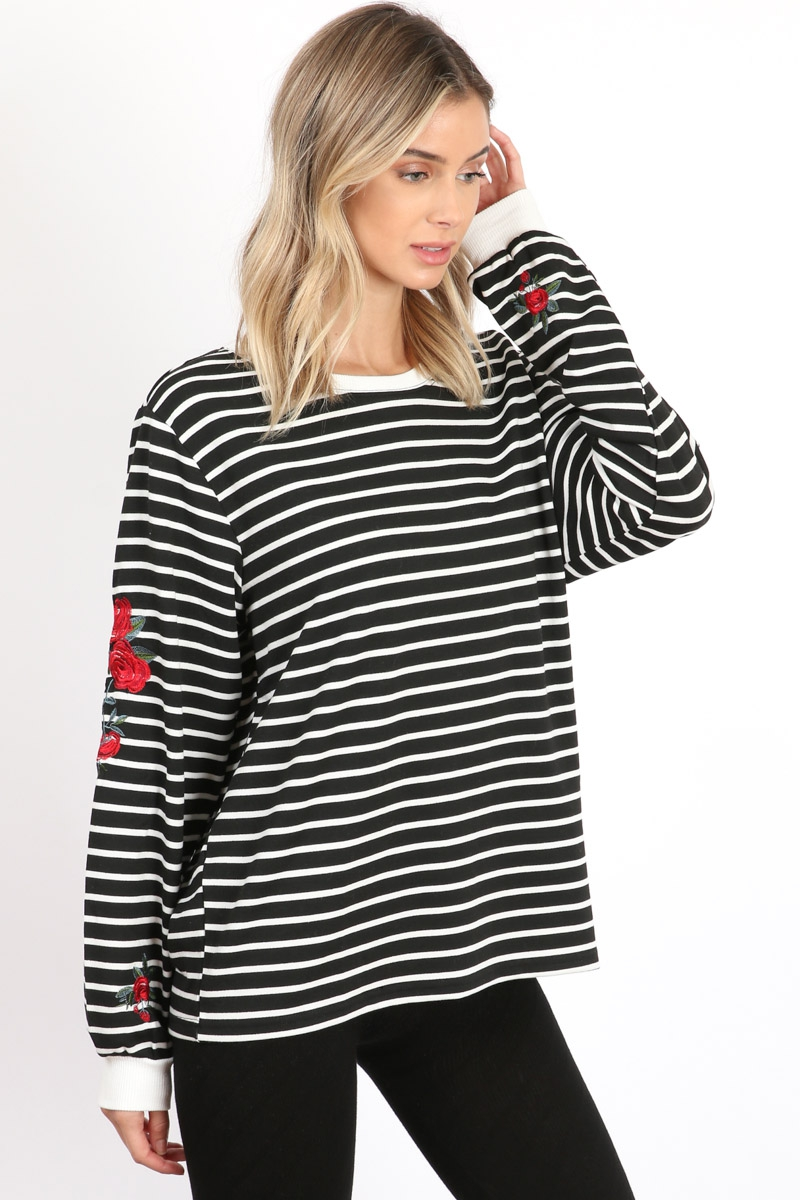 Stripe Pullover Embroidery - orangeshine.com