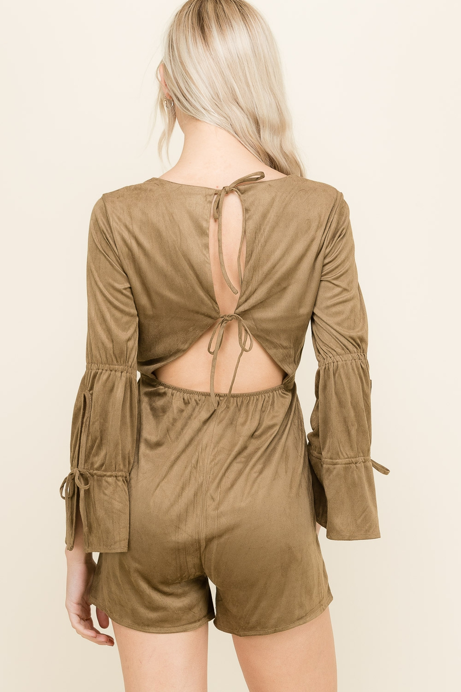 Suede Back Tie Detailed Romper - orangeshine.com