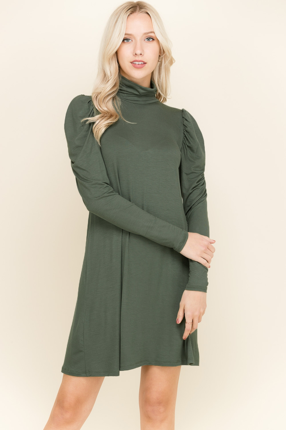 TURTLENECK SHOULDER DETAIL DRESS - orangeshine.com