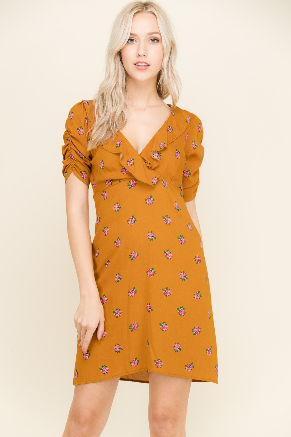 FLORAL RUFFLE DRESS - orangeshine.com