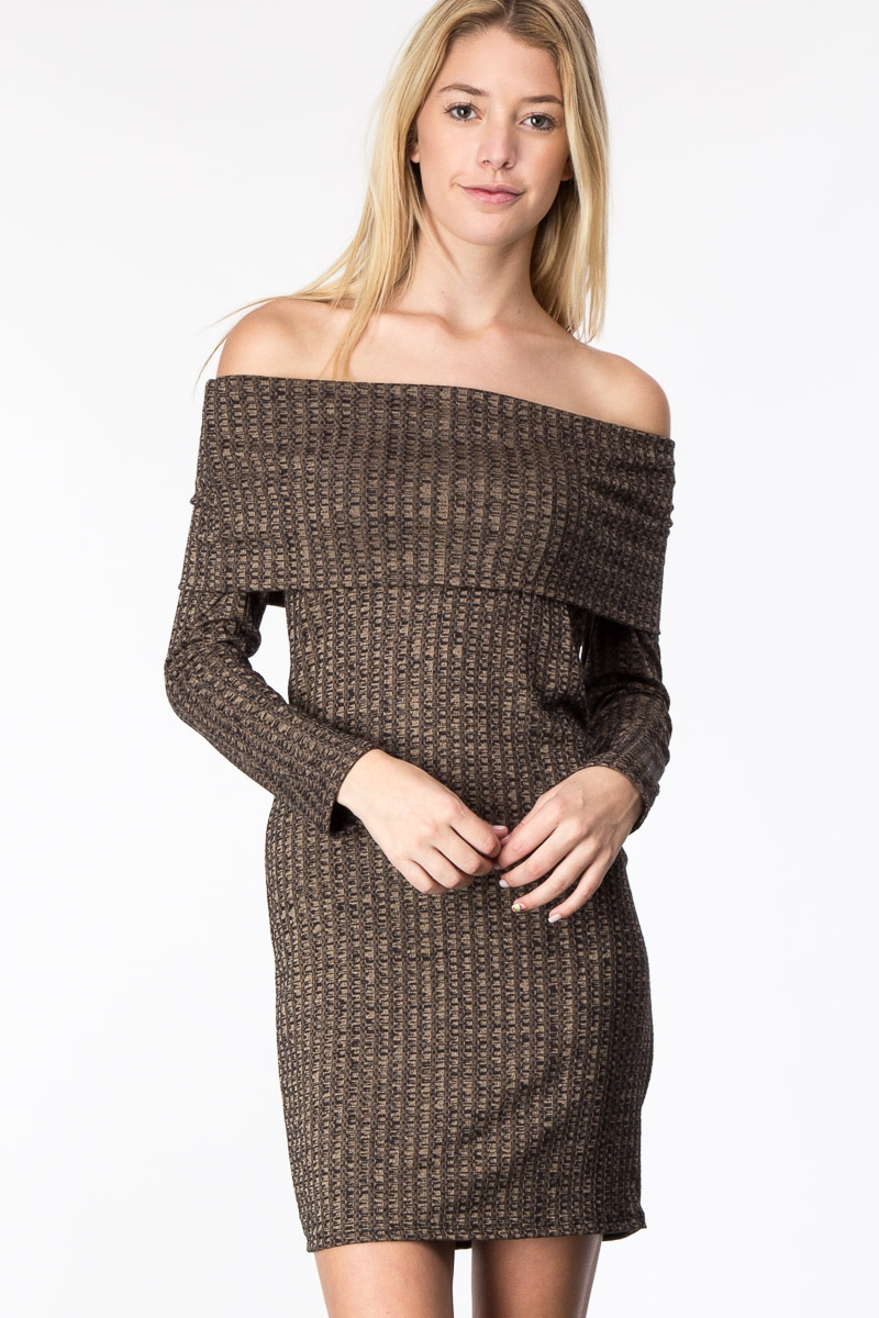 OFF SHOULDER LONG SLEEVE DRESS - orangeshine.com