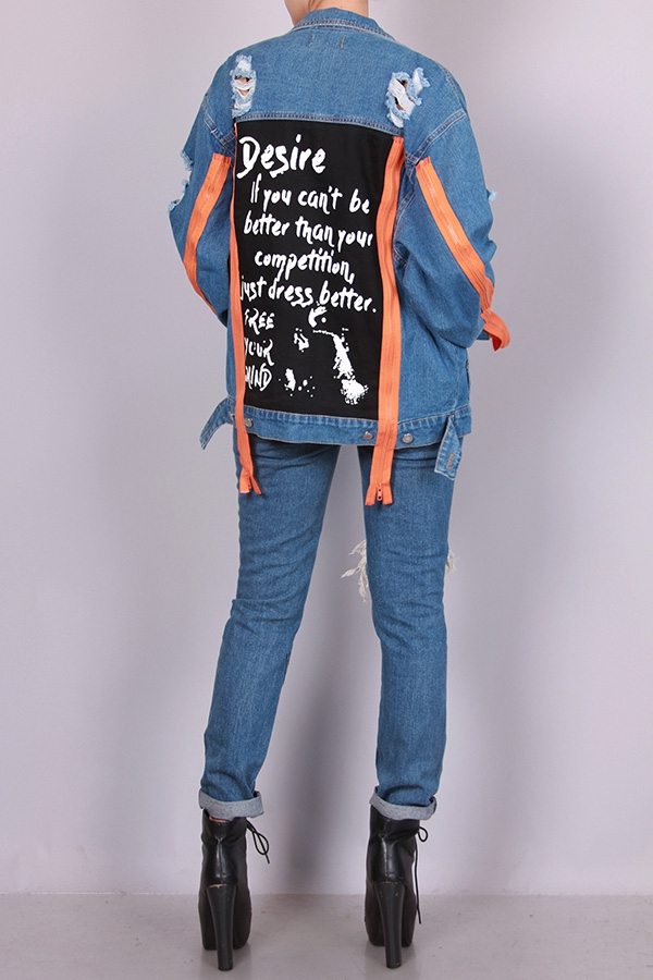 GRAPHIC ZIPPER DETAIL DENIM JACKET - orangeshine.com