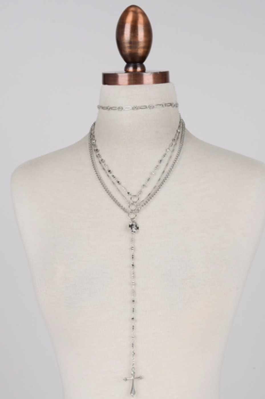 THREE LAYERED CROSS NECKLACE - orangeshine.com