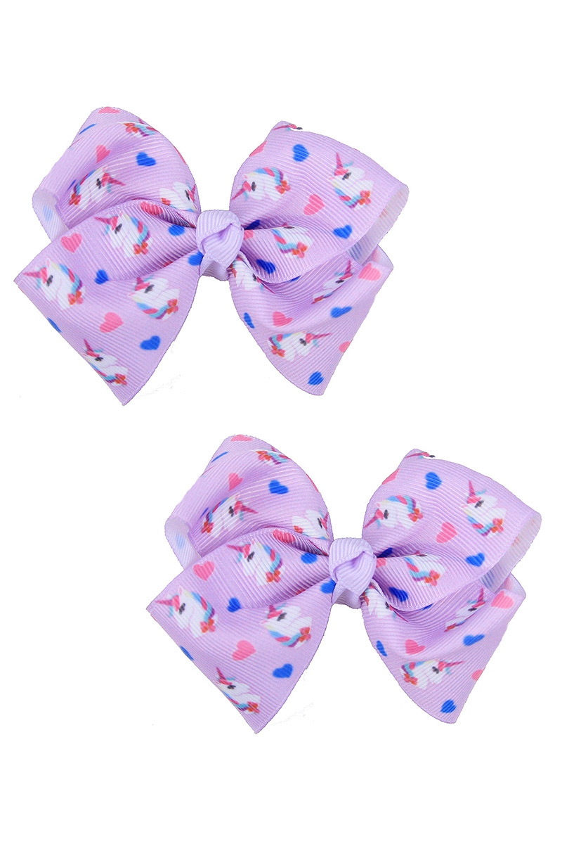 Multi Tone 2-pc Bow Hair Clip Set - orangeshine.com