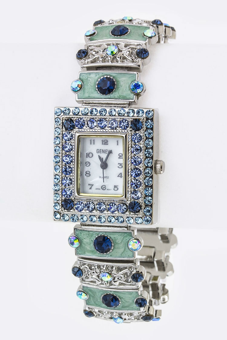 Pave Crystals Enamel Bracelet Watch - orangeshine.com