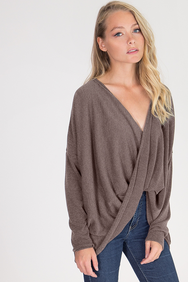 DRAPED CROSSOVER SWEATER - orangeshine.com