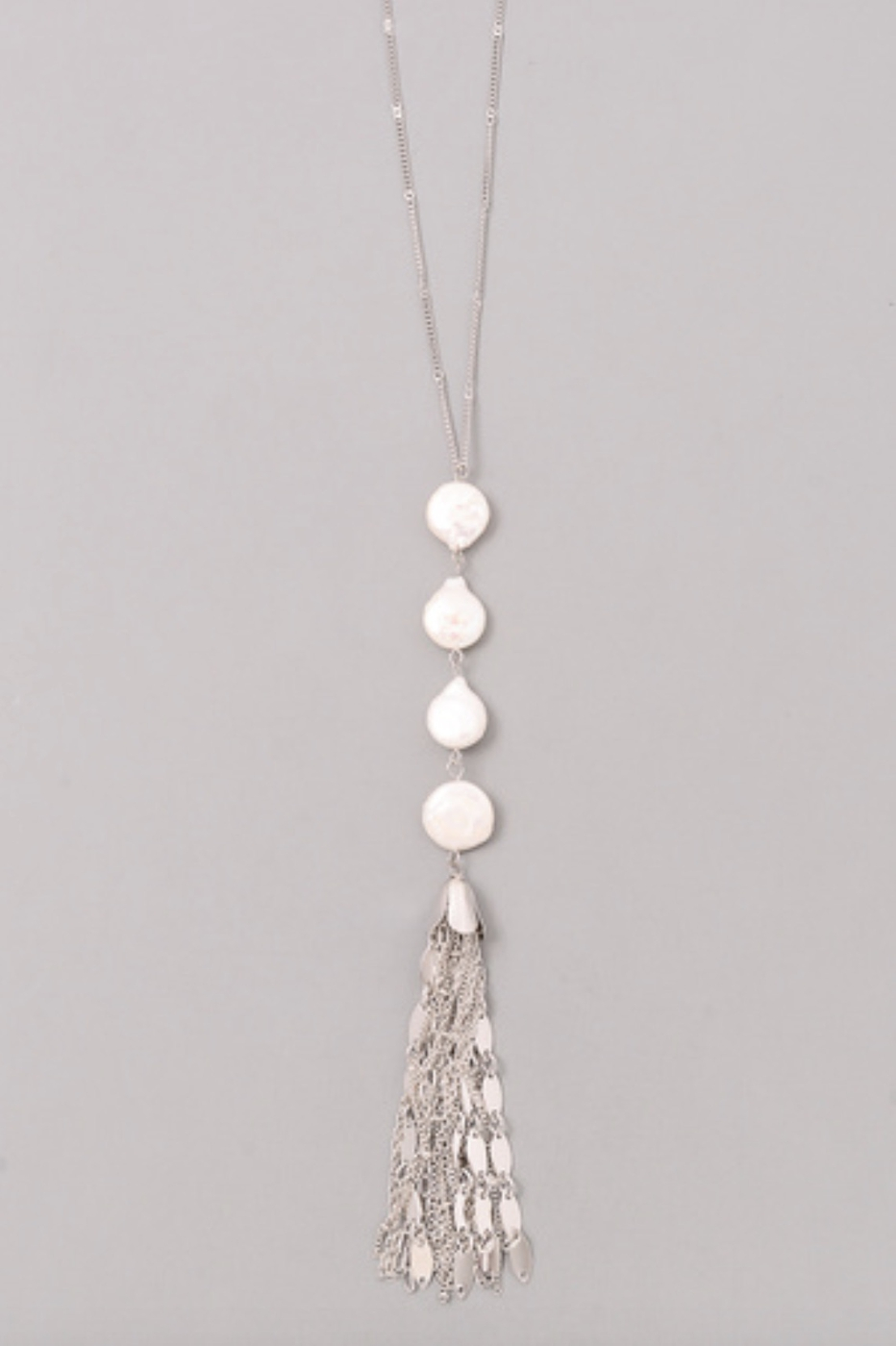 PEARL TASSEL CHAIN NECKLACE - orangeshine.com