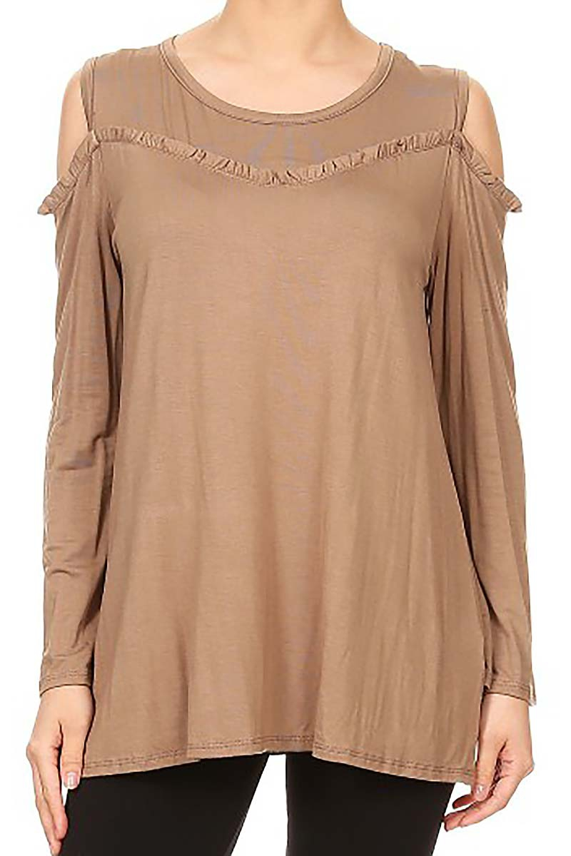 COLD SHOULDER RUFFLE DETAIL TOP - orangeshine.com