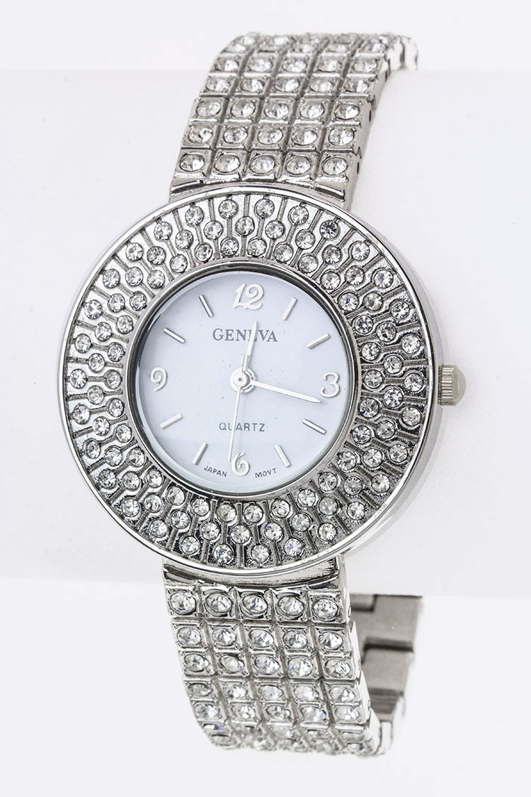 Pave Crystals Bracelet Watch - orangeshine.com
