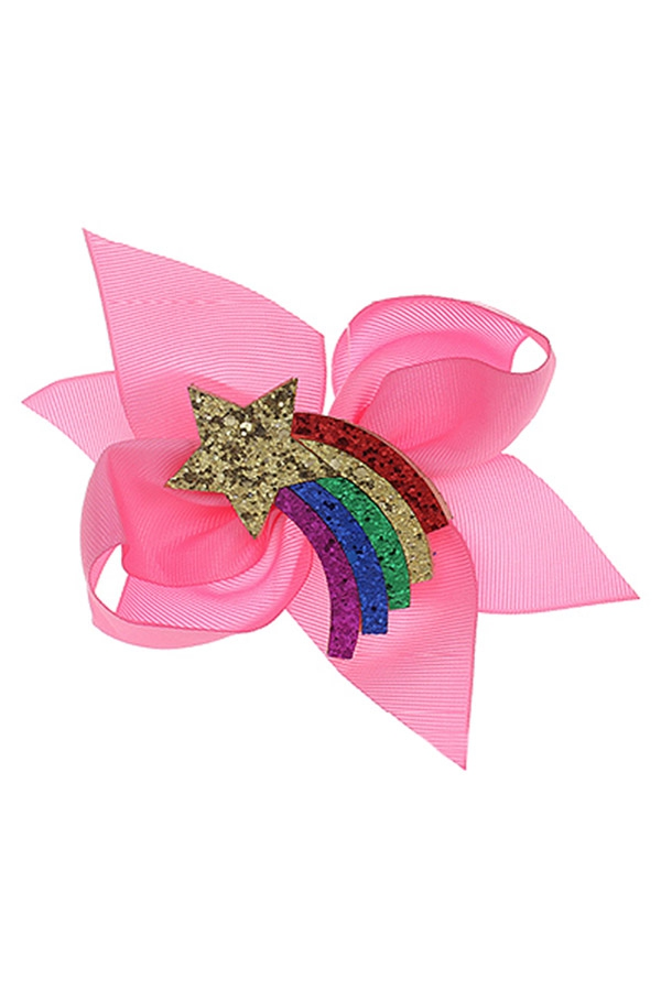 Glitter Rainbow Star Bow - orangeshine.com