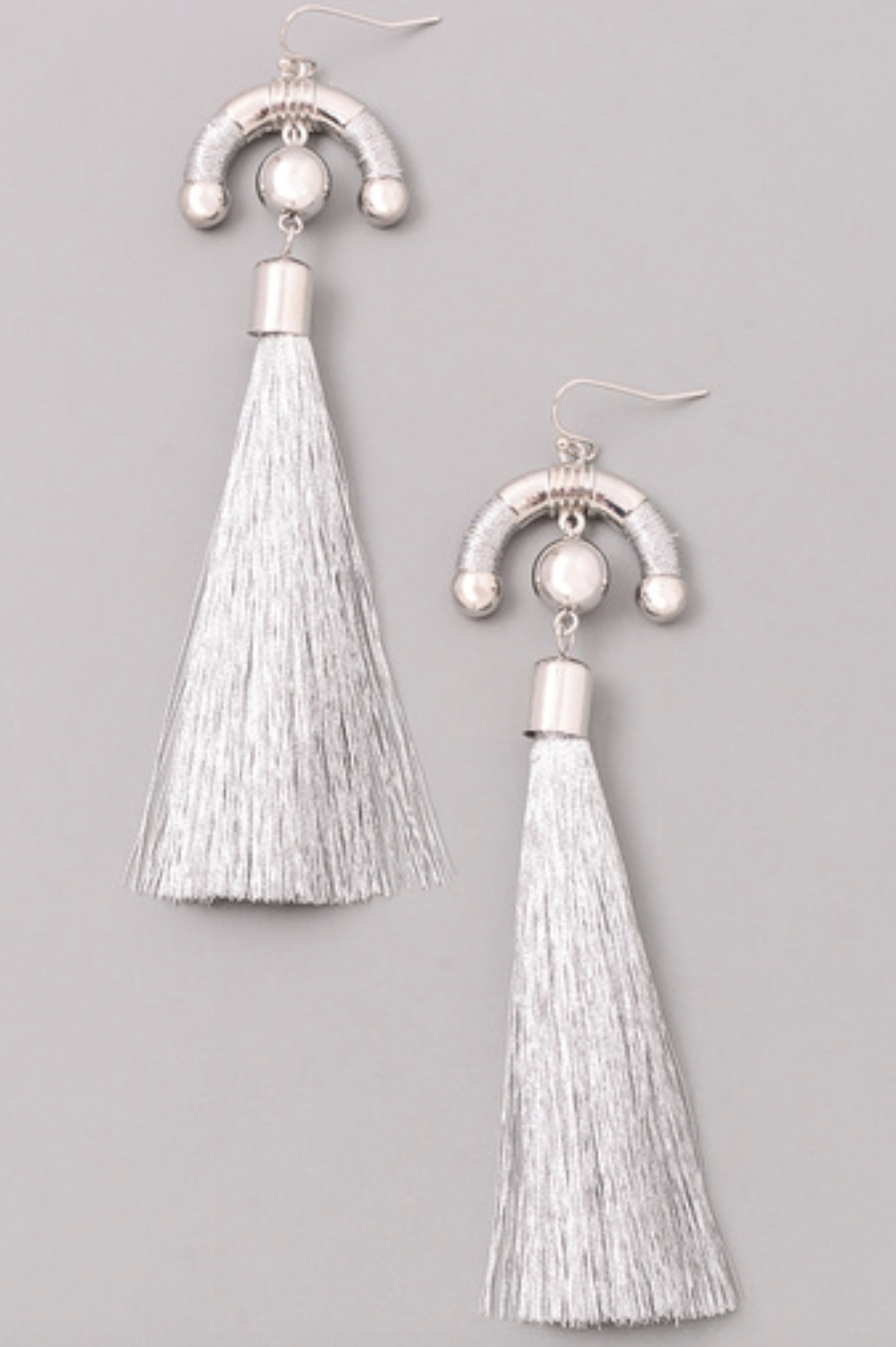 CRESCENT TASSEL DROP EARRINGS - orangeshine.com