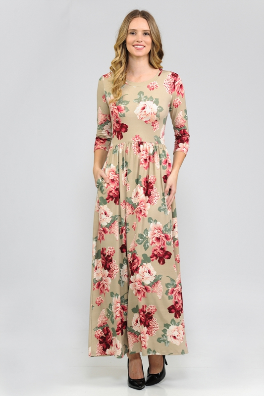 FLORAL PRINT 3/4 SLEEVE MAXI DRESS - orangeshine.com