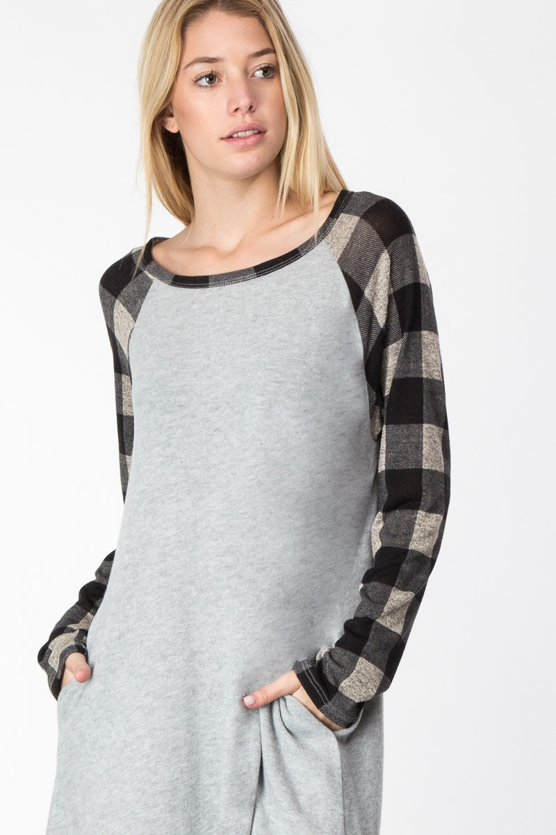 PLAID RAGLAN THIGH HIGH DRESS - orangeshine.com