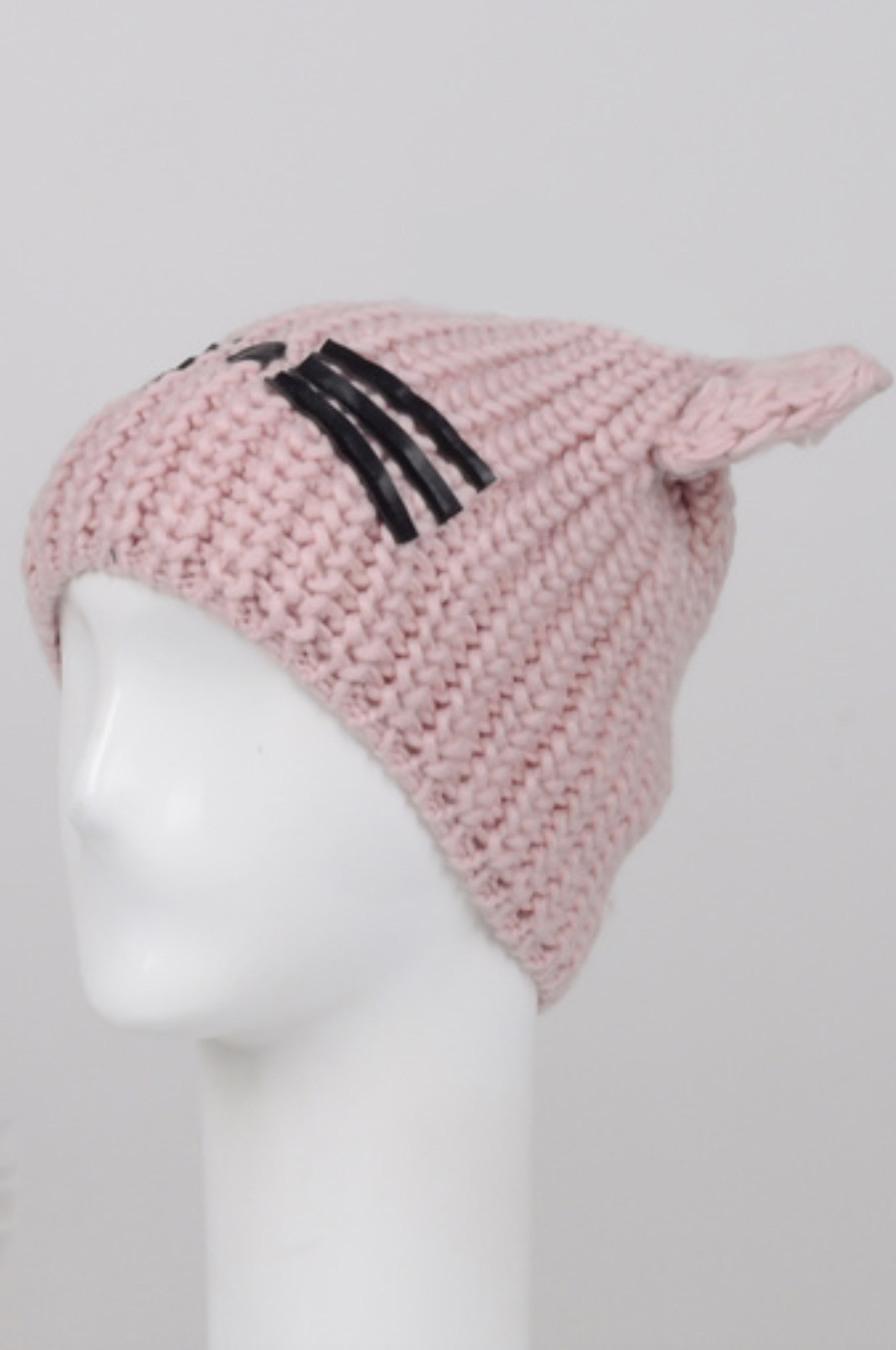 FAUX LEATHER CAT WHISKERS BEANIE - orangeshine.com